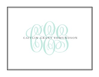 Tailored Monogram Black Folded Note