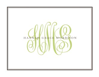 Tailored Monogram Espresso Folded Note