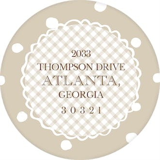 Natural Dots & Gingham Round Address Sticker (Designed by Natalie Chang)