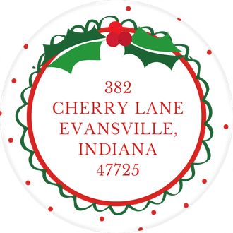Holly Christmas Round Address Sticker (Designed by Natalie Chang)