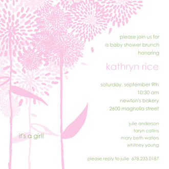 Dandelions Pink Square Invitation