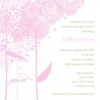Dandelions Pink Square Invitation