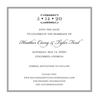 Pinstripes Black Square Invitation