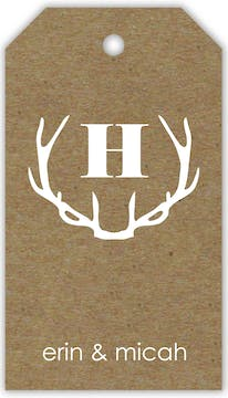 Antlers On Kraft Hanging Gift Tag