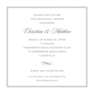 Pinstripes Grey Square Invitation