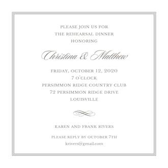 Pinstripes Grey Square Invitation