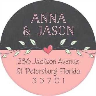 Wreath & Banner Chalkboard & Coral Round Address Label
