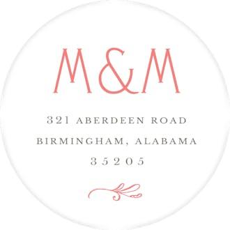 Rosemary Wedding Coral Round Address Label