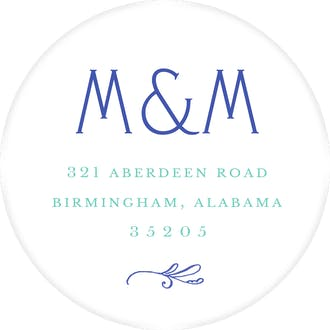 Rosemary Wedding Cobalt Round Address Label