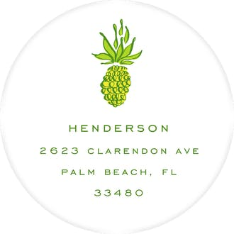 Pineapple Round Address Label