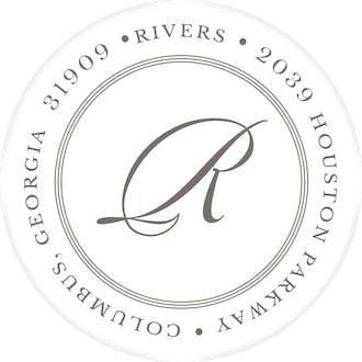 Pinstripes Grey Round Address Label