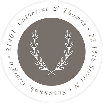Lovely Branches Grey Round Address Label