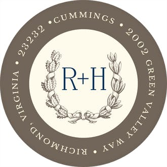 Ribboned Wreath On Ivory Grey Round Address Label