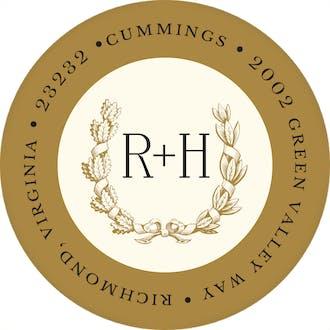 Ribboned Wreath On Ivory Gold Round Address Label
