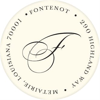Ivory Round Address Label