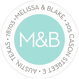 Solids Aqua Round Address Label