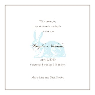 Spring Hare Powder Square Boy Birth Announcement