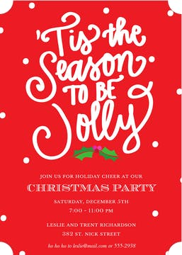 Tis the Season to be Jolly Invitation (Designed by Natalie Chang)