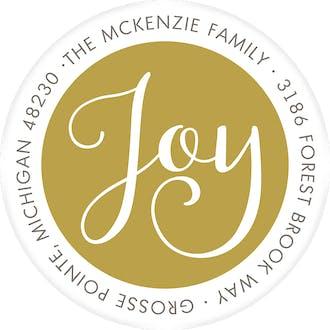 Simply Joy Gold Round Address Label