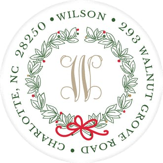 Traditional Wreath & Ribbon Round Address Label (Designed by Natalie Chang)