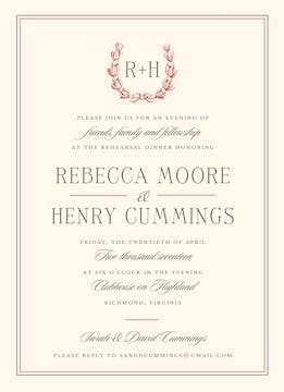 Ribboned Wreath On Ivory Paprika Invitation
