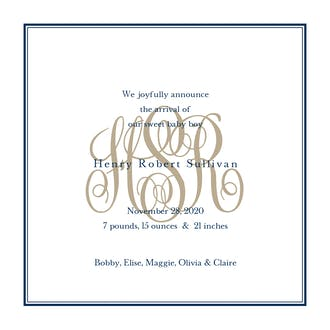 Tailored Monogram Navy Boy Birth Announcement
