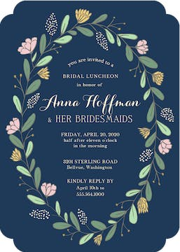 Spring Wreath Navy Invitation
