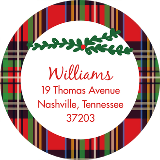 Christmas Plaid Round Address Label (Designed by Natalie Chang)