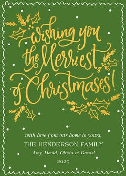 Wishing You the Merriest Foil Pressed Flat Holiday Card (Designed by Natalie Chang)