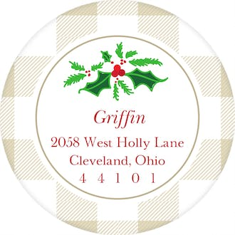 Buffalo Check Tan Round Address Label (Designed by Natalie Chang)