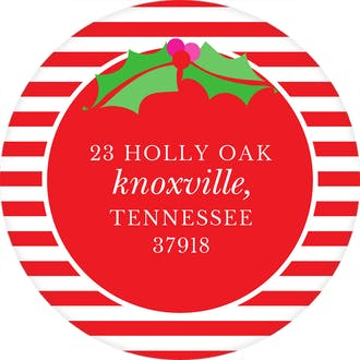 Dots, Stripes & Holly Red Round Address Label (Designed by Natalie Chang)