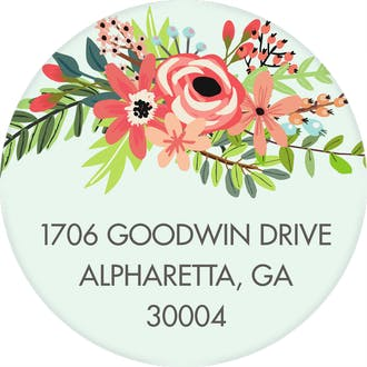 Coral Bouquet Mint Round Address Label