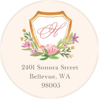Floral Crest Round Address Label