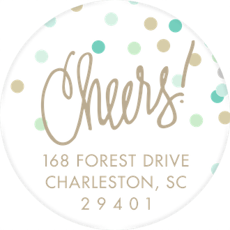 Cheers! Confetti Blue Round Address Label (Designed by Natalie Chang)