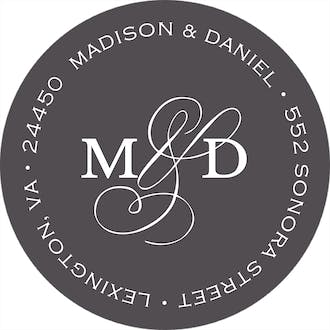 Modern Monogram Charcoal Round Address Label