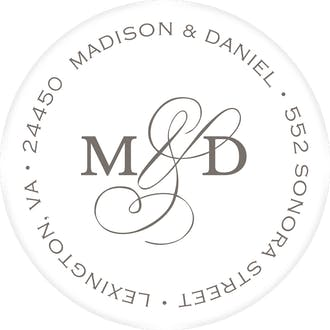 Modern Monogram White Round Address Label