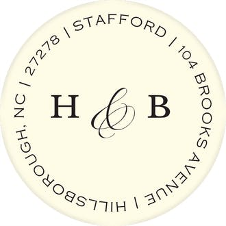 Simple Space Ivory Round Address Label
