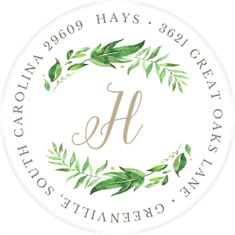 Leaf & Vine White Round Address Label