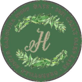 Leaf & Vine White Round Address Label