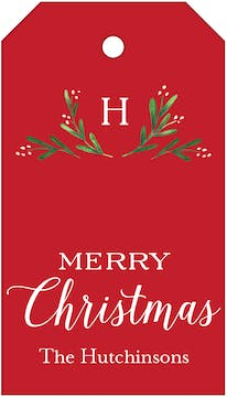 Merry Monogram Red Hanging Gift Tag