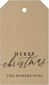 Merry Christmas Calligraphy Kraft (Vertical) Hanging Gift Tag