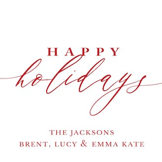 Happy Holidays Calligraphy White Flat Enclosure Card