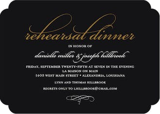 Foil Rehearsal Dinner Black Foil Pressed Invitation