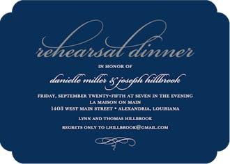 Foil Rehearsal Dinner Navy Foil Pressed Invitation