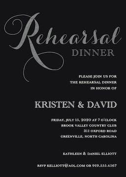 Foil Rehearsal Dinner Black Foil Pressed Invitation