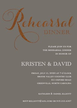 Foil Rehearsal Dinner Grey Foil Pressed Invitation