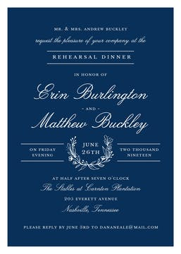 Classic Evening Navy Invitation