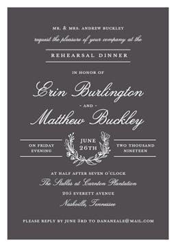 Classic Evening Charcoal Invitation