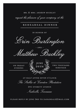 Classic Evening Black Invitation