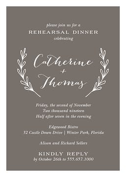 Lovely Branches Grey Invitation
